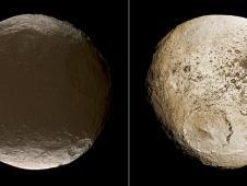 These two global images of Iapetus<br /> show the extreme brightness dichotomy<br /> on the surface of this peculiar<br /> Saturnian moon.<br /> Image credit: NASA/JPL-Caltech/<br /> Space Science Institute&nbsp;&nbsp;&nbsp;&nbsp;<br /> <a href='http://www.nasa.gov/mission_pages/cassini/multimedia/gallery/pia11690.html' class='bbc_url' title='External link' rel='nofollow external'>� Full image and caption</a>
