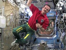 Commander Chris Hadfield participates<br /> in an in-flight interview with Soci�t�<br /> Radio-Canada in Montreal in the Destiny<br /> laboratory of the International Station.<br /> Credit: NASA TV