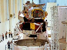 Image above: Lunar Module-1 is being<br /> moved into position for mating with<br /> Spacecraft Lunar Module Adapter in the<br /> Kennedy Space Center&#39;s Manned Spacecraft<br /> Operations Building. LM-1 flew on the<br /> Apollo 5 mission of Jan. 22, 1968. NASA&#39;s<br /> Orion spacecraft is now being built in the<br /> same facility, now known as the Operations<br /> and Checkout Building.<br /> Photo credit: NASA<br /> <a href='http://www.nasa.gov/images/content/721779main_Lunar%20Module.jpg' class='bbc_url' title='External link' rel='nofollow external'>� View Larger Image</a>
